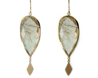 Solid 9k yellow gold and golden rutilated quartz drop earrings