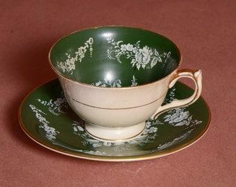 Vintage Aynsley deep green teacup