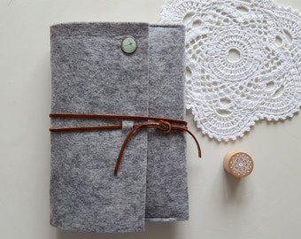 A5 Gray Felt Notebook, Felt Journal, Felt Diary