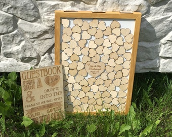 Wedding GUEST BOOK ALTERNATIVE Wedding Guest Book With Guest Sign, Drop Box 3D Frame, Drop in Top Wooden Hearts, Shadow Box, Golden Frame