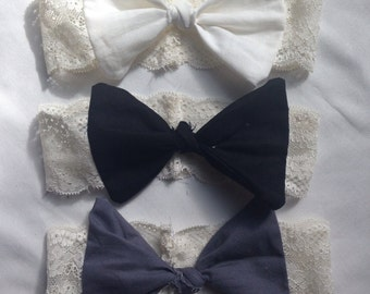 Lace/bow headbands - Neutral trio