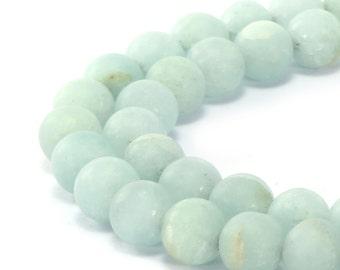 Matte Aqua Dyed Quartz Round Well Polish Loose Gemstone Beads 15.5 Inch per Strand, Size 6mm/8mm/10mm.R-M-QUA-0241