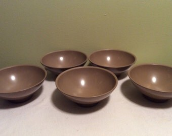 Vintage Boontonware Brown Salsa Dessert Dipping Small Side Bowls Set of Five Melamine Plastic Dishes
