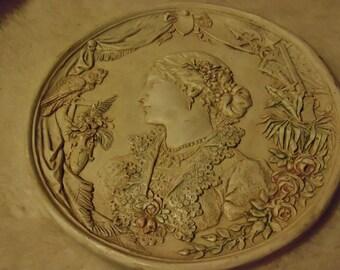 victorian plaque medallion plaster paris fine detail
