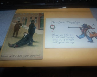 pair post cards 1908 1915 drunk and cops and black americana