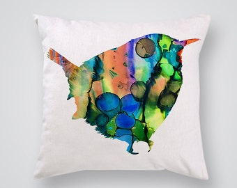 Sparrow Decorative Pillow - Birdy Throw Pillow - Art Pillow Cover - Home Decor