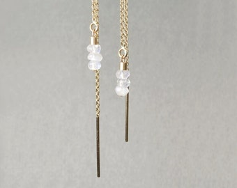 Earrings 14 k gold and Moonstone *.
