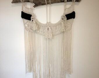 Extra large Macrame and Merino wool wall hanging