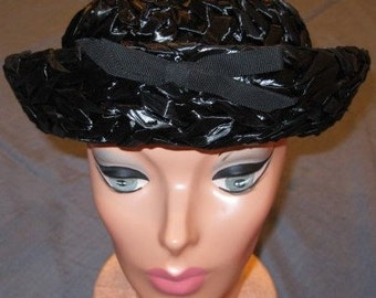 Vintage 1950s Coralie Black Woven Straw Hat With Turned-Up Brim