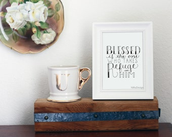 Blessed One Hand Lettered Print