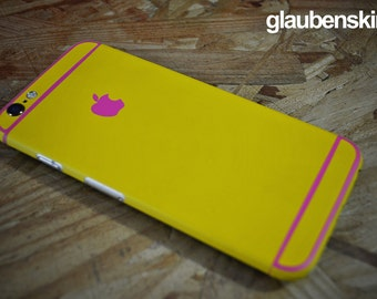 iphone 6 skin yellow with pink