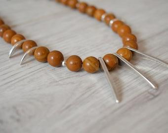WOLVERINE necklace, Natural Rainstone Beads Necklace Jewelry, Silver Spike Gemstone Necklace, Boho Bohemian Gypsy Tribal Ethnic Jewelry