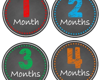 ON SALE Monthly Baby Milestone Stickers Baby Boy Baby Shower Gift One-Piece Baby Stickers Monthly Baby Stickers Baby Month Sticker