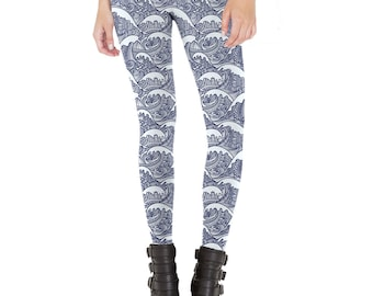 Henna Waves Patterned Leggings - Made in The U.S.A