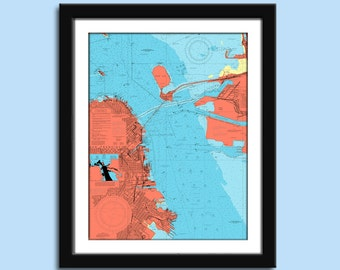 San Francisco CA - Nautical Chart Decor
