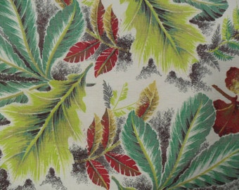 Vintage Novelty Fabric Cotton Bark Cloth Fall Leaves Material