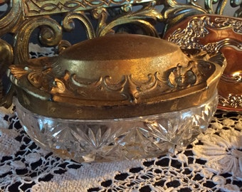 Antique Victorian cut glass and gold tone metal jewelry storage or trinket vessel box
