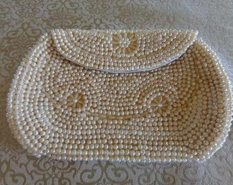 Vtg pearls beads Japan evening clutch purse handbag