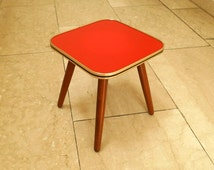 vintage square formica red table / plant stand / W. Germany / 1950s - 1960s