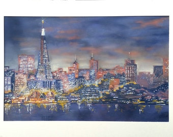 LATE FROM ALCATRAZ   Original Pastel on Board with matting