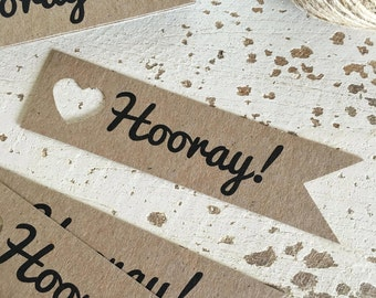 Rustic 'Hooray!' Tags Pk20