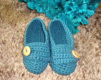 Women crochet slippers , loafers ,house Slippers . spa slippers  teal