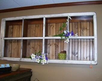 White Repurposed Window Shelf