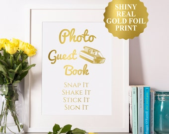 Photo Guest Book Sign, Photo Booth Sign, Gold Foil Photo Guestbook Sign, Photo Wedding Guest Book, Wedding Photo Booth, Gold Foil Wedding