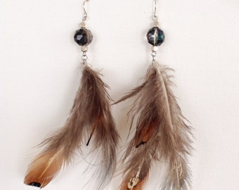 Feather and beaded earrings