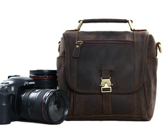 Handmade Vintage Genuine Leather DSLR Camera Bag SLR Camera Bag Leather Camera  Bag Large Briefcase Messenger Bag