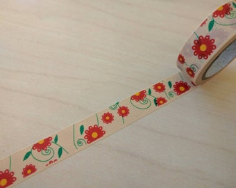 Full roll red and green floral washi tape 26.25 feet 1 piece