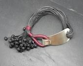 Grape, bracelet, wax thread,  resistant bracelet, silver bracelet, impressive clasp, bracelet female, Boho bracelet, water-proof, wax thread