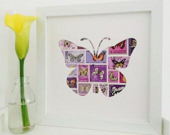 Purple Butterfly, Postage Stamp Art, Butterfly wall decor, Butterfly wall art, Butterfly wall hanging, Girls room decor, Thoughtful keepsake