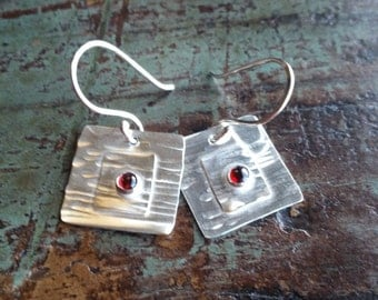 The Katherine Sterling Silver Handcrafted earrings with Garnet Cabochon. Handmade. Artisan Jewelry.