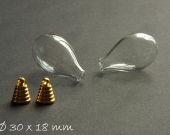 2 PCs - hollow beads clear drops 30 x 18 mm