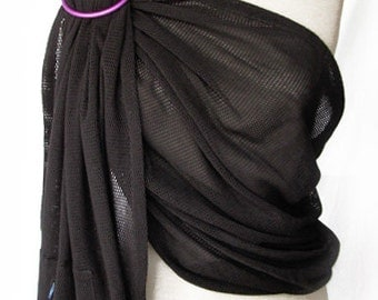 Mesh Ring sling Baby Carrier Summer Baby Sling - Black Cotton - Wrap Conversion Ring Sling