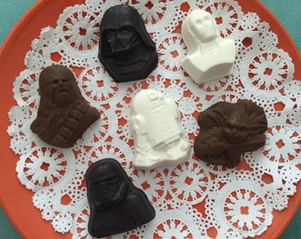 Star Wars Chocolates(12 qty) - Star Wars Chunky Chocolates - Darth Vader - Chewbacca - C3PO - R2D2 - Yoda - Storm Trooper