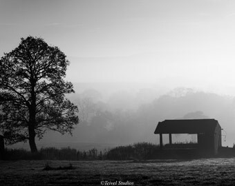 Barn in the Mist - Black and White - Mist - Wall Art - Landscape