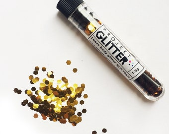 Big cosmetic glitter - gold 2mm hexagons