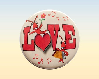Crawfish Boil Pin, Crawfish Love Button, Lobster Love, Cajun Love, Maine Love, Crayfish Love, Pin Back Button, Seafood Badge