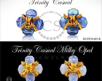 Trinity Earrings Casual Crystal Ejecutiva Pearl  by Carolina Smith Jewelry