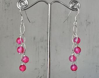 Semi precious waterfall earrings