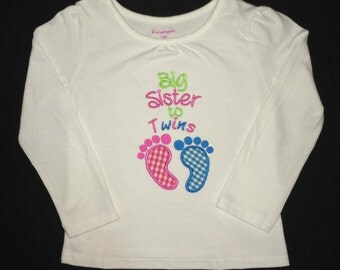 Big Sister to Twins appliqued baby feet shirt