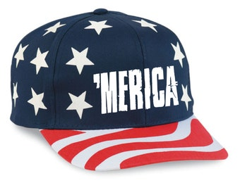 July 4th American Flag SnapBack Hat 'MERICA Logo