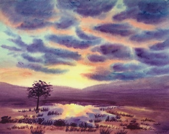 Mystic Pond colorful abstract landscape original acrylic painting