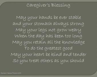 Caregiver's Blessing Digital Print, Nurse's Blessing Download, Printable Doctor's Blessing, Blessing for Caregivers Digital Download