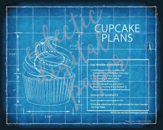 Funny cupcake blueprint cupcake poster cupcake wall art funny cupcake blueprint cupcake poster cupcake wall art gift for cupcake lover digital print printable cupcake art computer blue print malvernweather Choice Image