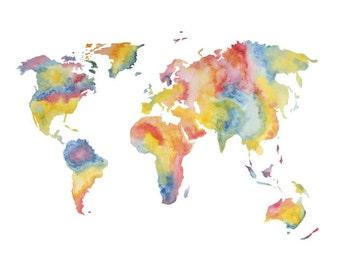 World Map Rainbow Print - Watercolour Painting