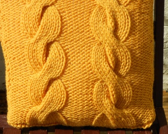 Knitted Large Cable Chunky Cushion Available in Different Colours and sizes. Hand knitted