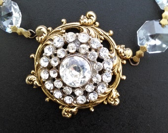 CHANDELIER Crystal and Antique BUTTON Necklace